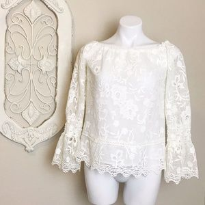 Willow & Clay | Ivory Lace Boat Neck Blouse S